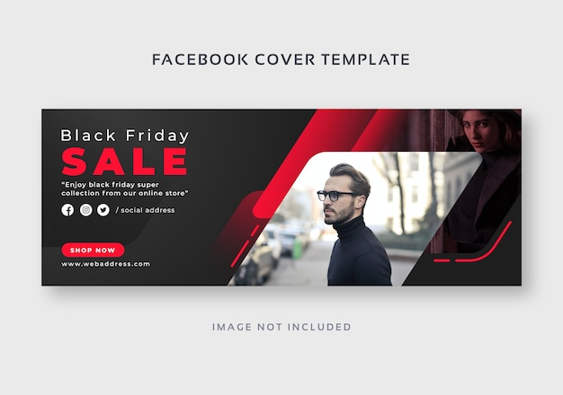 Modelo de banner da web de capa negra para facebook