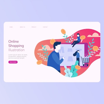 Modelo de banner da web de compras on-line