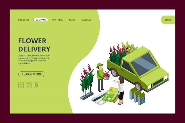 Modelo de banner da web de entrega de flores. página de destino isométrica de flores e plantas