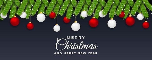 Modelo de banner da web de natal e ano novo com folha floral e vetor de bola de natal