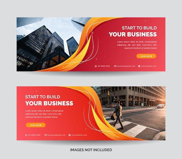 Modelo de banner da web de negócios com gradiente de cor laranja e rosa
