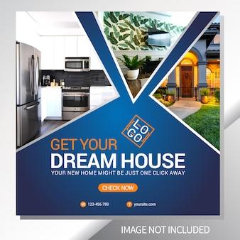 Modelo de banner da web de venda de imóveis