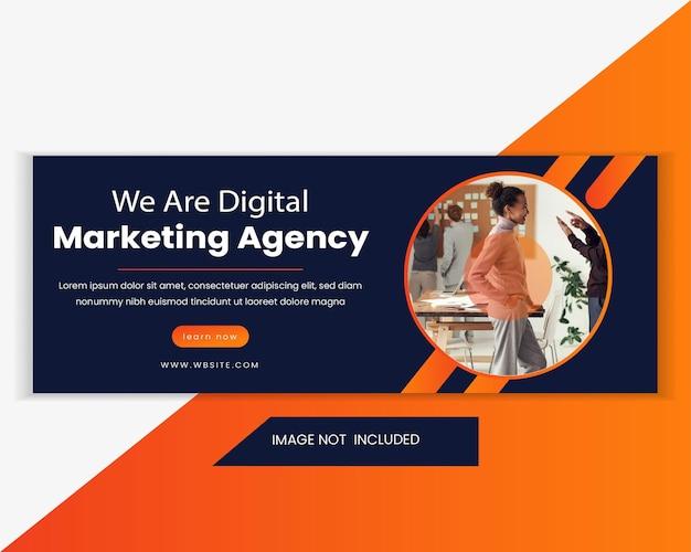 Modelo de banner da web de venda de marketing comercial e digital. modelo de banner horizontal de publicidade da web. banner de cabeçalho da web de marketing para mídia social e anúncio de site