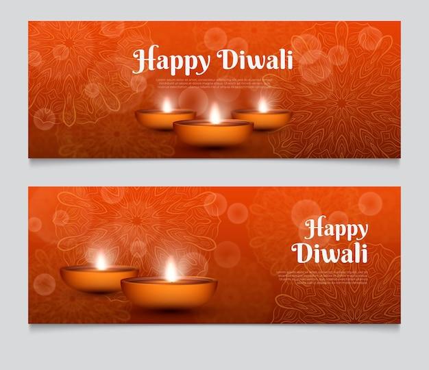 Modelo de banner da web diwali iluminar velas