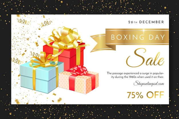 Modelo de banner da web do boxing day