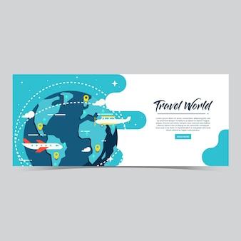 Modelo de banner da web do mundo de viagens