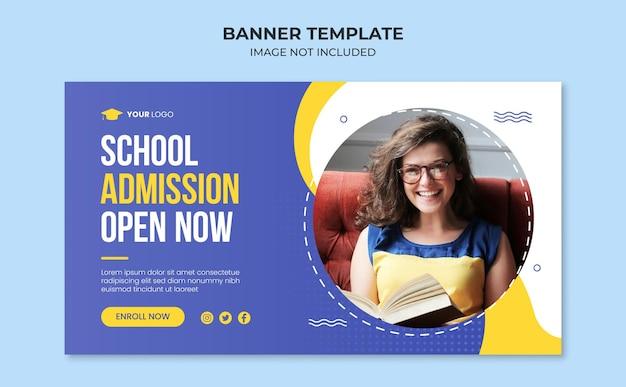 Modelo de banner da web para admissão escolar