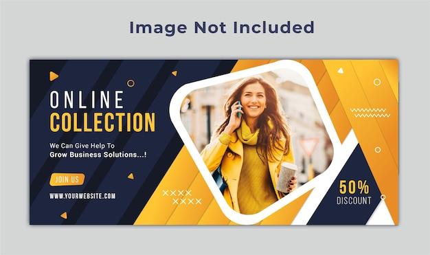 Modelo de banner da web para mídia social na capa do facebook