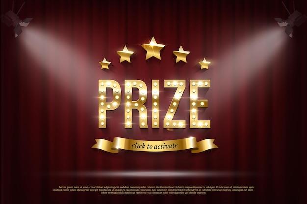 Modelo de banner da web vencedor do prêmio tipografia dourada com lâmpadas cintilantes estrelas brilhantes clique para ativar o texto na fita no fundo da cortina