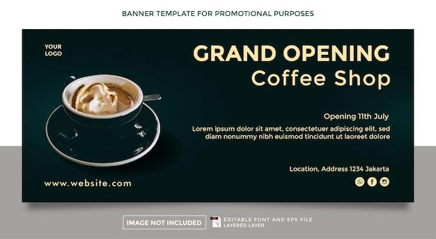 Modelo de banner de abertura de cafeteria