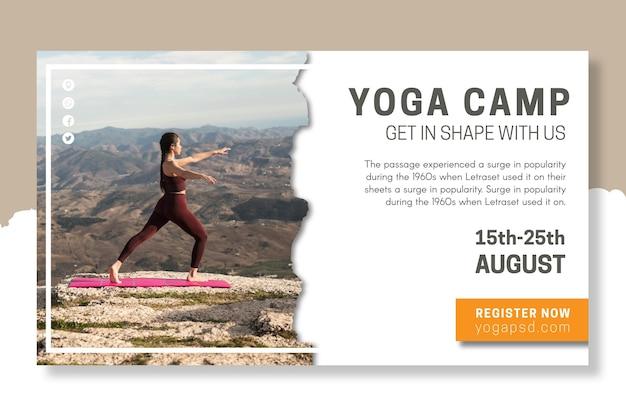 Modelo de banner de acampamento de ioga