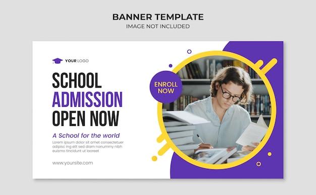 Modelo de banner de admissão para educação escolar