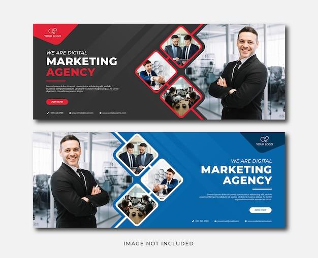 Modelo de banner de agência de marketing digital profissional