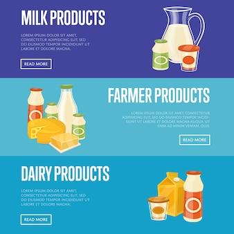 Modelo de banner de agricultor, leite e produtos lácteos
