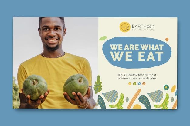 Modelo de banner de alimentos biológicos e saudáveis