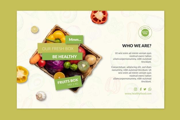 Modelo de banner de alimentos saudáveis e bio com foto