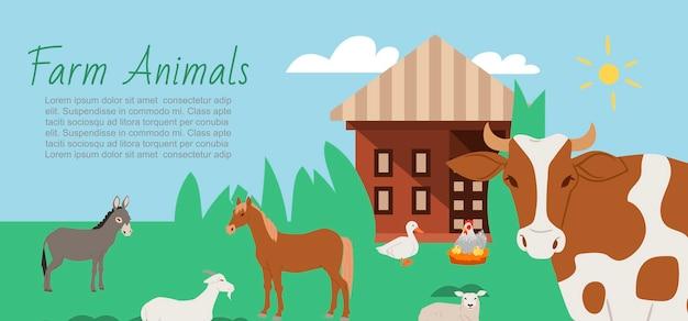 Modelo de banner de animais de fazenda e paisagem rural