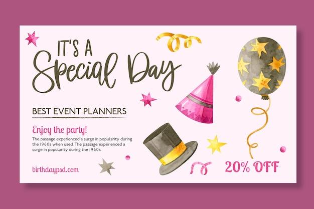 Modelo de banner de aniversário com elementos desenhados