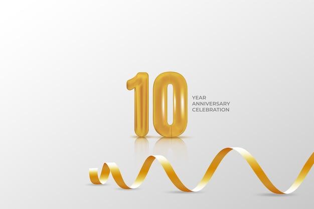 Modelo de banner de aniversário de 10 anos. ilustração com número dourado.