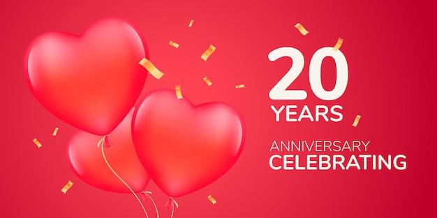 Modelo de banner de aniversário de 20 anos com balões de ar vermelho 3d
