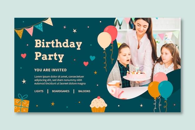 Modelo de banner de aniversário infantil