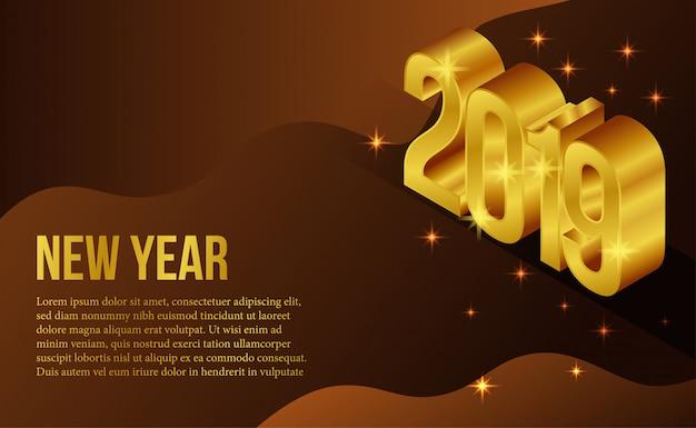 Modelo de banner de ano novo ouro isométrica