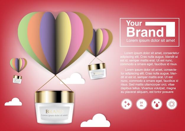 Modelo de banner de anúncio cosmético com balão de ar
