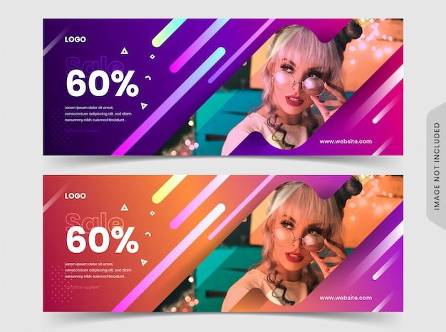 Modelo de banner de anúncio de página de facebook promocional de venda de moda
