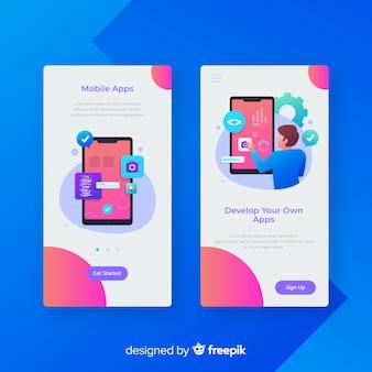Modelo de banner de app móvel desenhada de mão