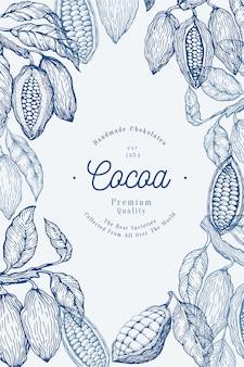 Modelo de banner de árvore de cacau. grãos de chocolate cacau. mão ilustrações desenhadas. ilustração do estilo vintage.