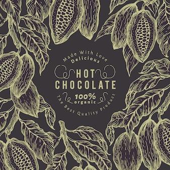 Modelo de banner de árvore de cacau. quadro de grãos de cacau de chocolate.