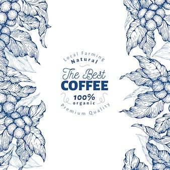 Modelo de banner de árvore de café. ilustração vetorial fundo de café retrô.