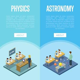 Modelo de banner de aulas de física e astronomia na escola