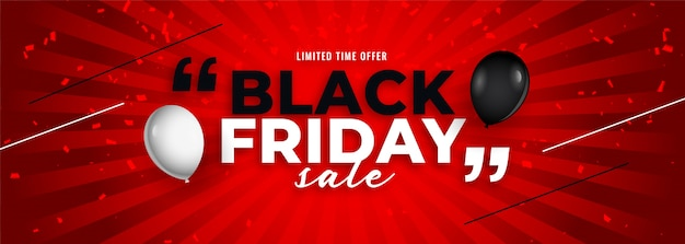 Modelo de banner de balão de venda sexta-feira preta elegante