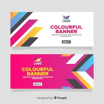 Modelo de banner de barras coloridas