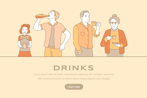 Modelo de banner de bebidas. pessoas felizes bebendo café, chá e refrigerante.