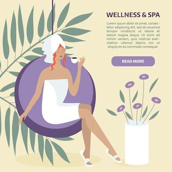 Modelo de banner de bem-estar e spa. mulher sentada com chá ou café.
