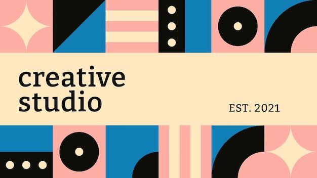 Modelo de banner de blog editável, texto inspirado em estúdio criativo em bauhaus design plano