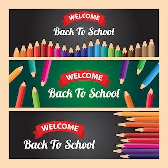 Modelo de banner de boas-vindas de volta à escola