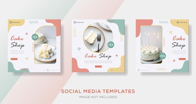 Modelo de banner de bolo para postagem em mídia social
