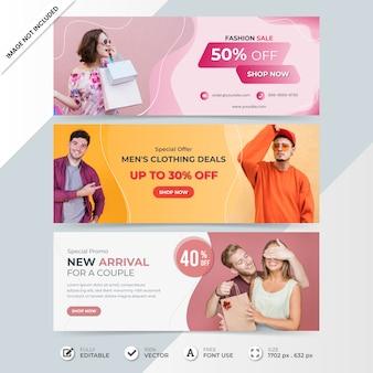 Modelo de banner de capa de cronograma de venda de mídia social de moda com foto