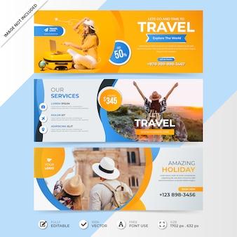 Modelo de banner de capa de cronograma de venda de mídia social de viagens com foto