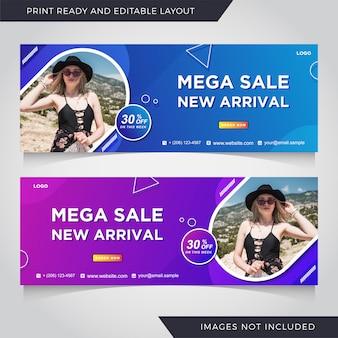 Modelo de banner de capa de facebook de venda de moda.