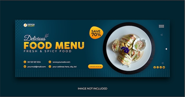 Modelo de banner de capa de menu de restaurante de fast food na web e mídia social
