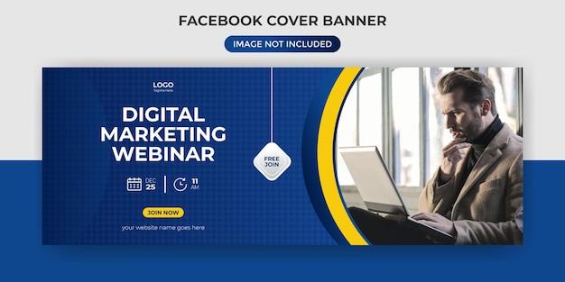 Modelo de banner de capa do facebook de webinar de marketing digital