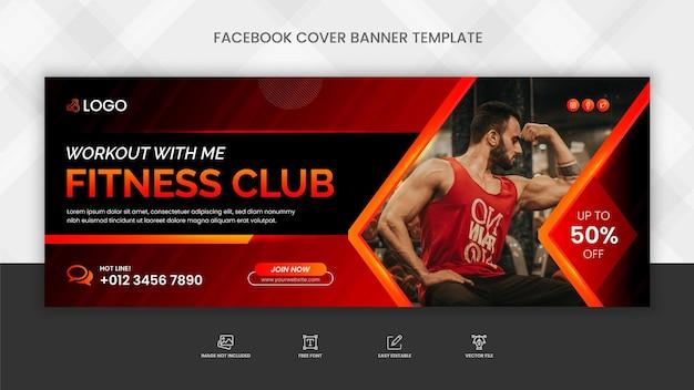 Modelo de banner de capa do facebook para academia de ginástica