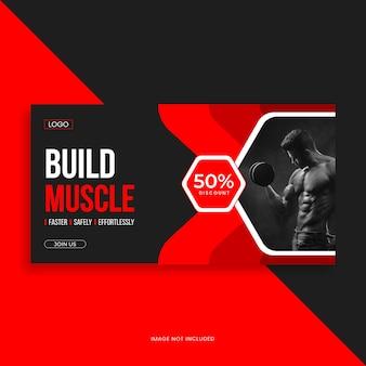 Modelo de banner de capa do facebook para fitness e academia