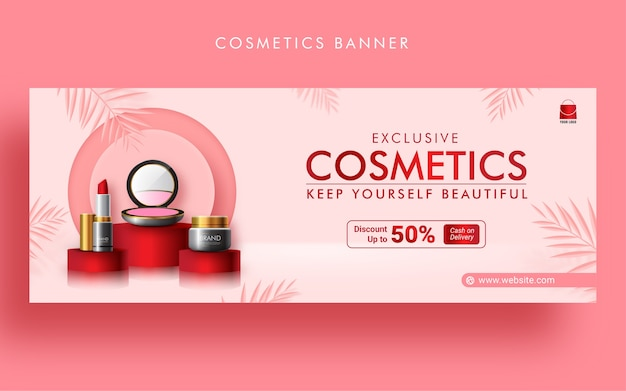 Modelo de banner de capa do facebook para promoção de venda de moda cosmética