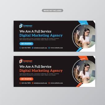 Modelo de banner de capa do facebook promoção de negócios corporativos premium