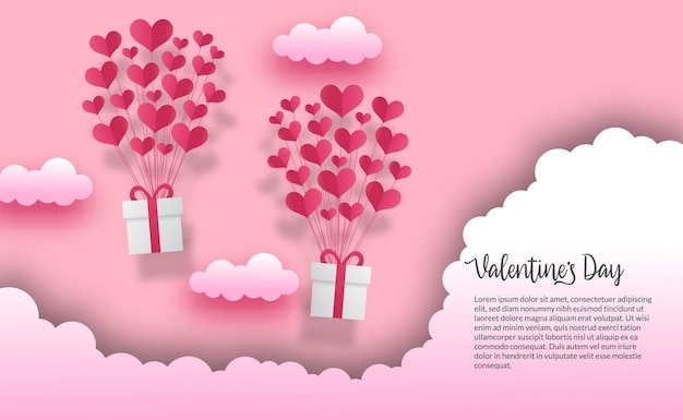 Modelo de banner de cartão de dia dos namorados com coração de amor voador